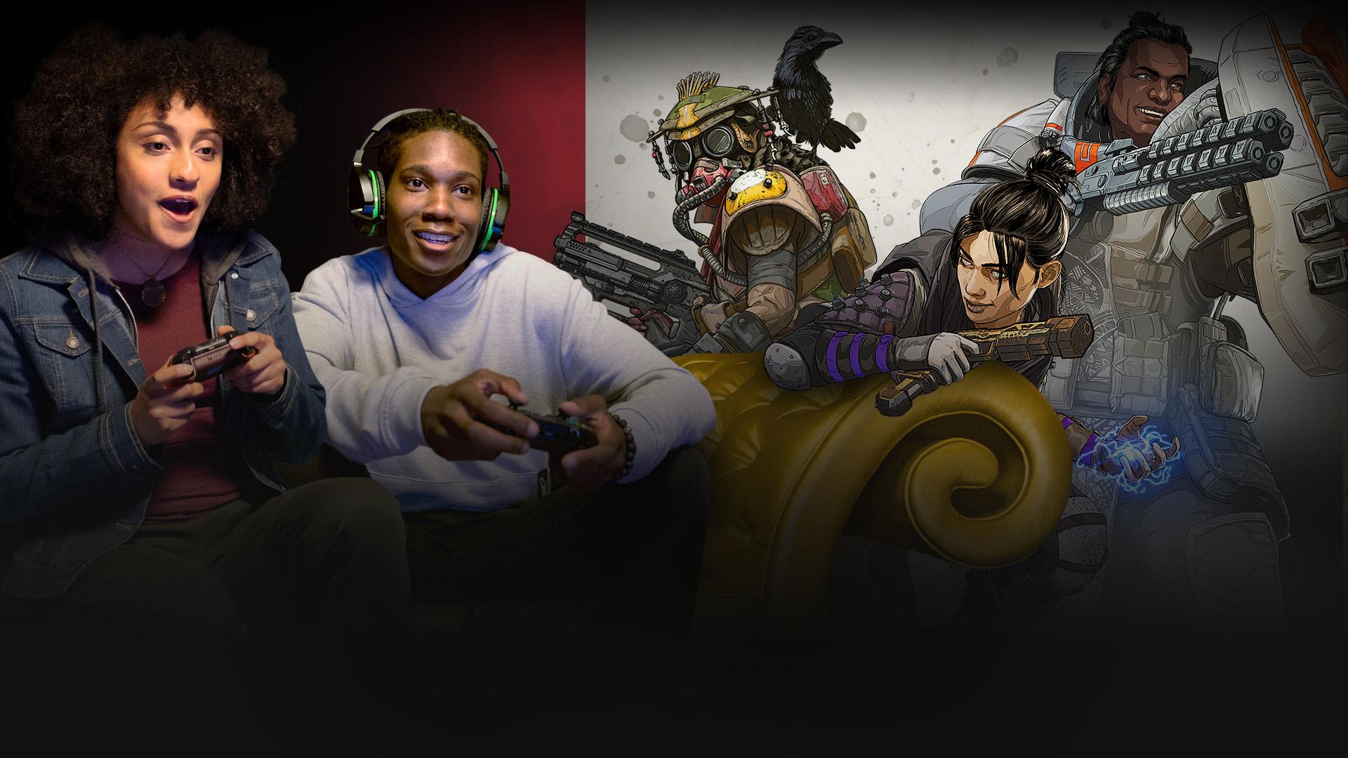2人がXbox One のコントローラーを金色のソファにすわって握り、3人のApex Legends キャラクターを腕の近くに持っています