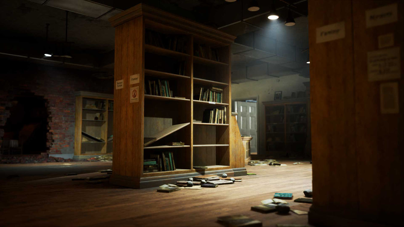 Inside of a partially destroyed library with books on shelves and the floor