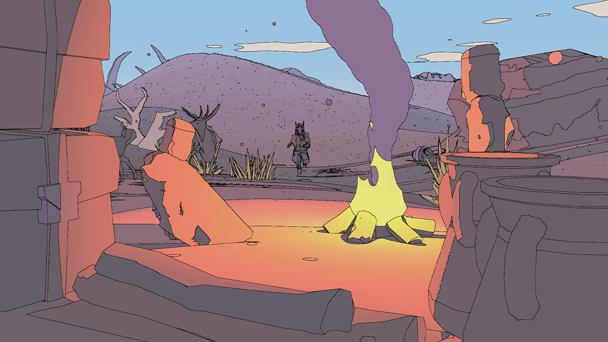 キャンプファイヤーに向かって走る Sable