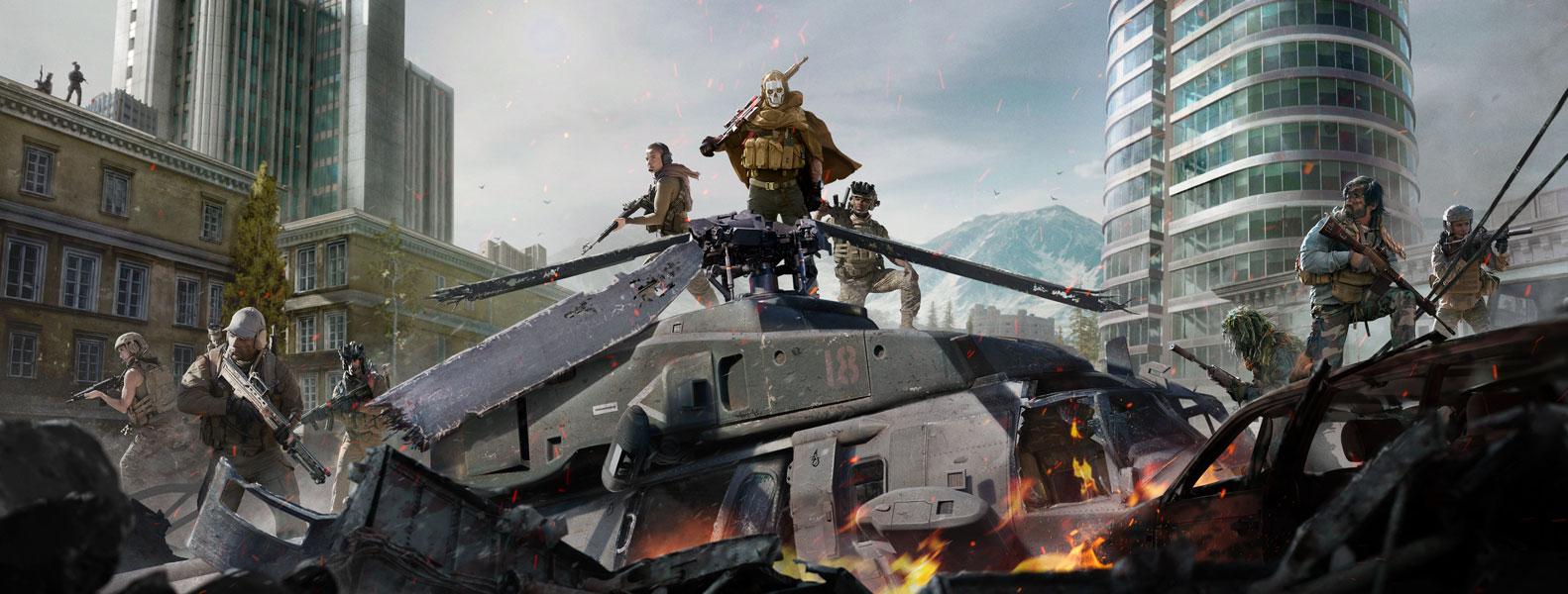 Ghost from Call of Duty: Modern Warfare in skull mask and stealth gear on top of a crashed helicopter with several other characters