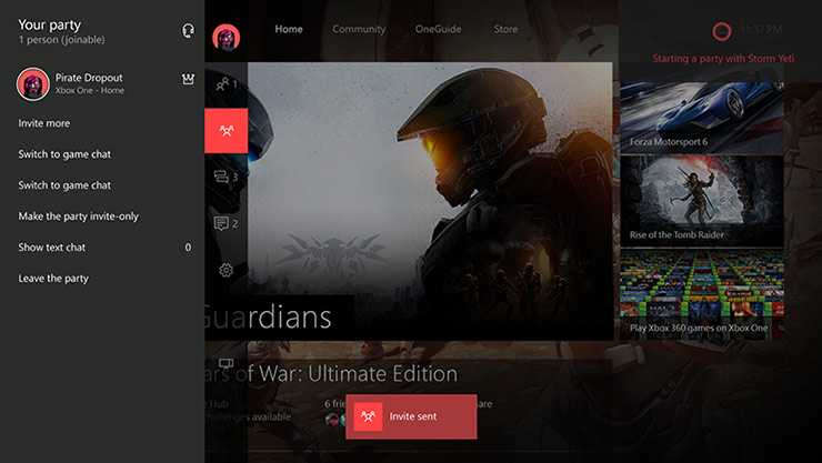 Xbox dashboard showing Cortana assistance