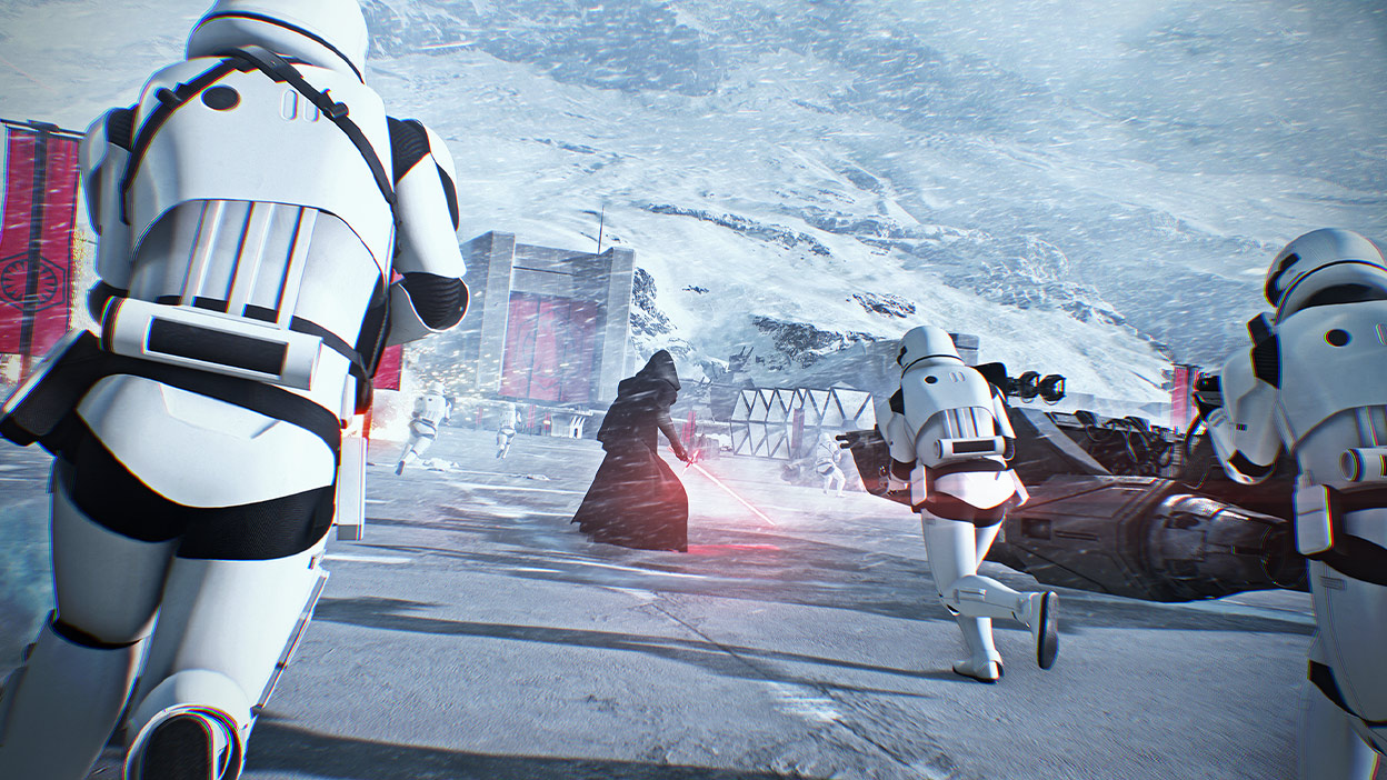 Darth Maul with a Stormtrooper army storm a base in a snowstorm