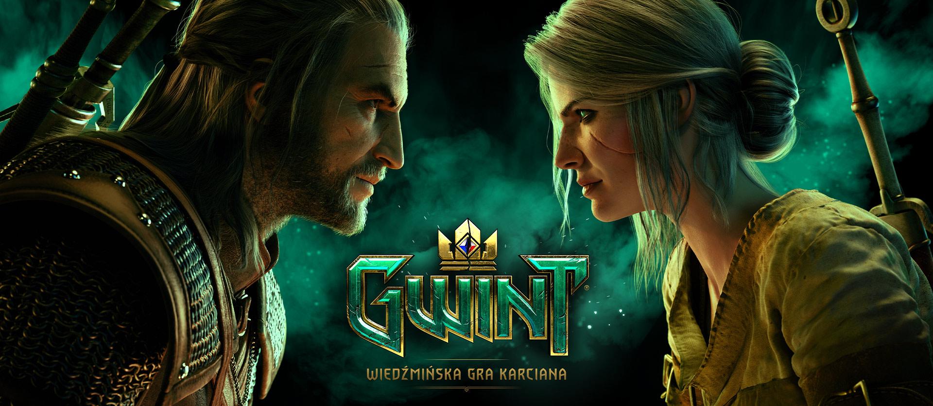GWINT: Wiedźmińska gra karciana, widok profilu zbliżających się Geralta i Ciri