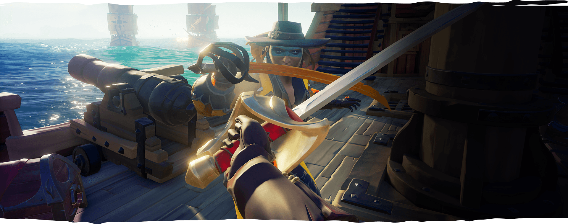 first person view of character sword fighting an enemy