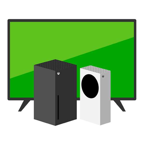 xbox series x and xbox series s in front of a large monitor
