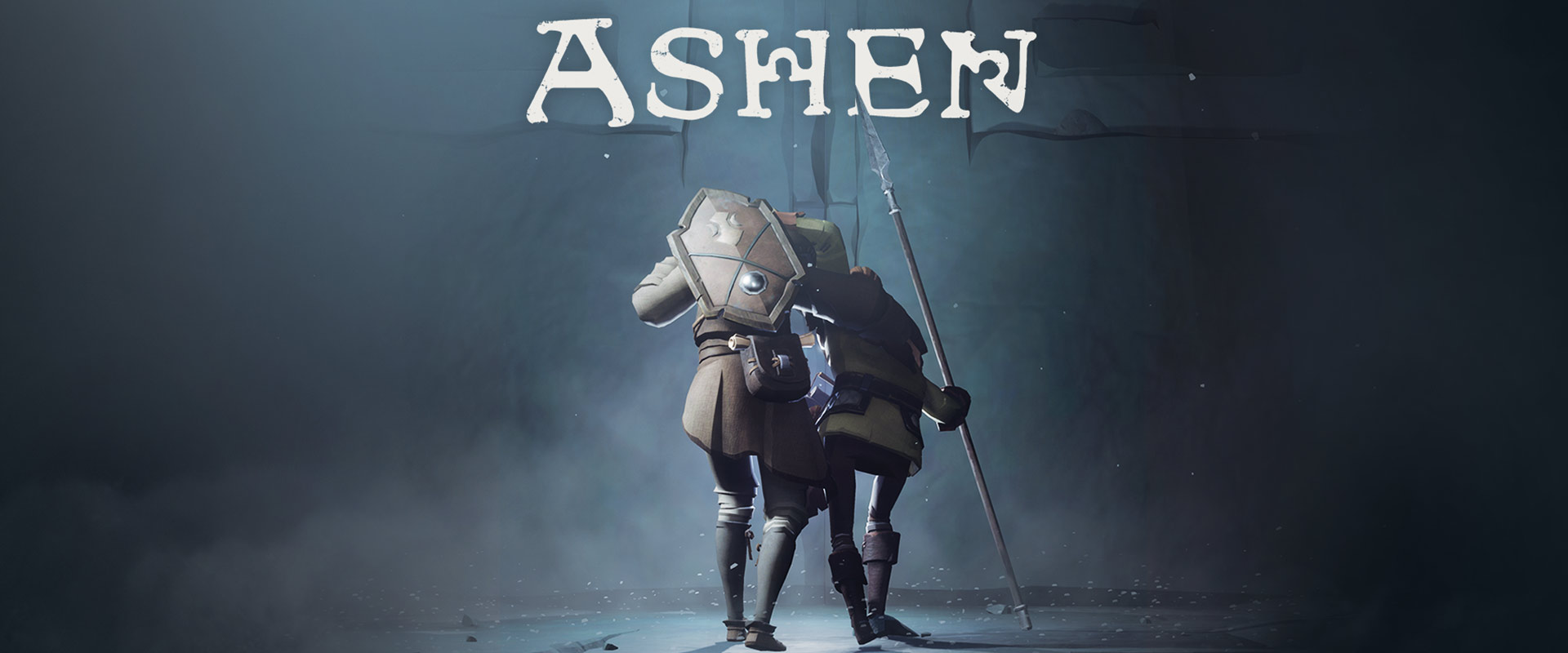 Ashen, Back view of two characters helping each other walk in a dank cave