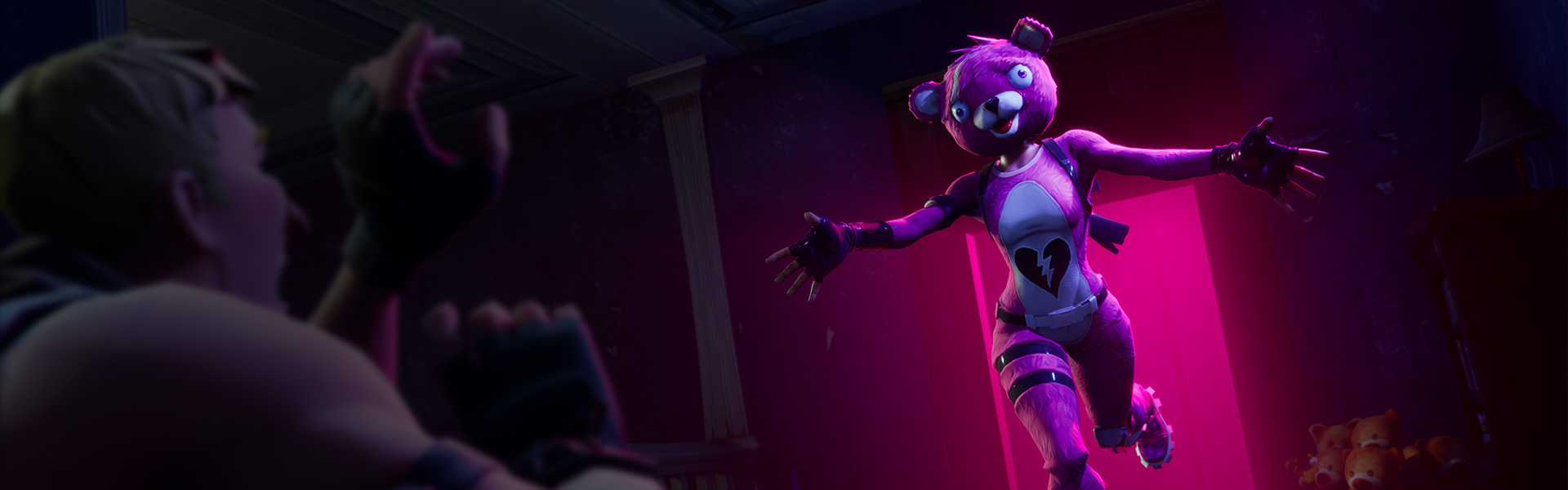 A person in a pink teddy bear costume runs toward a scared male character