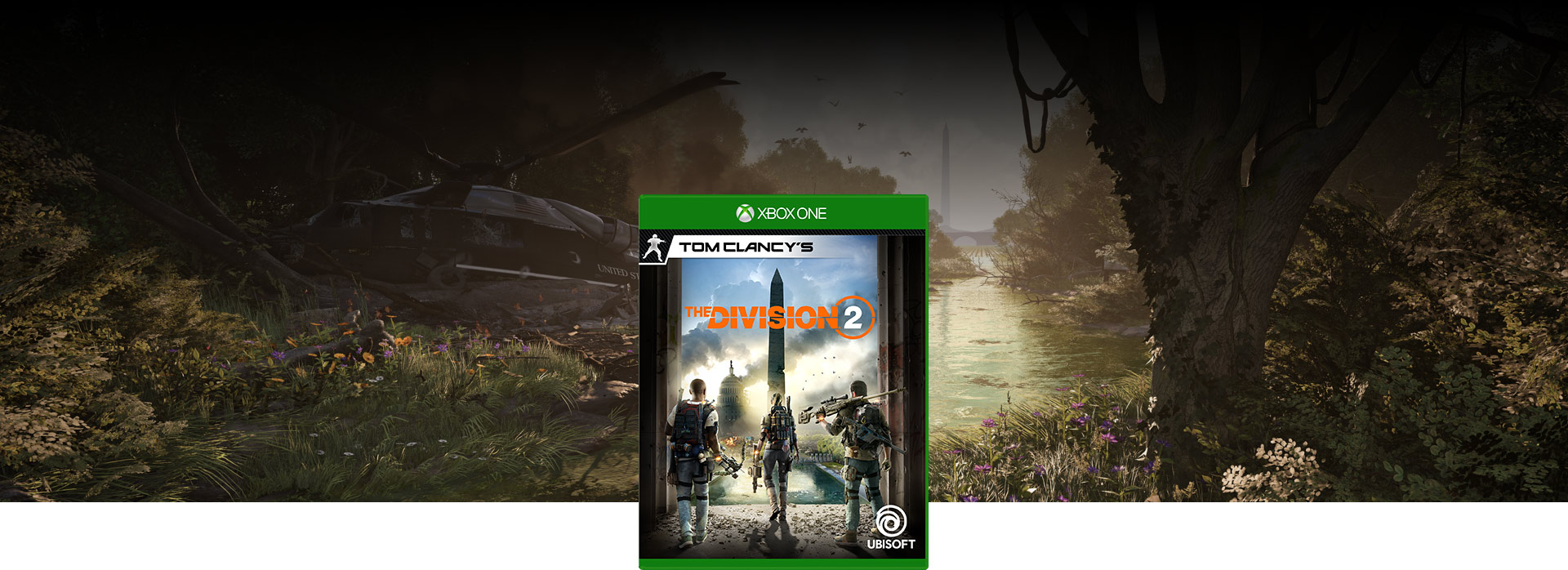 Tom Clancy's The Division 2 boxshot, background of crashed helicopter in a forest