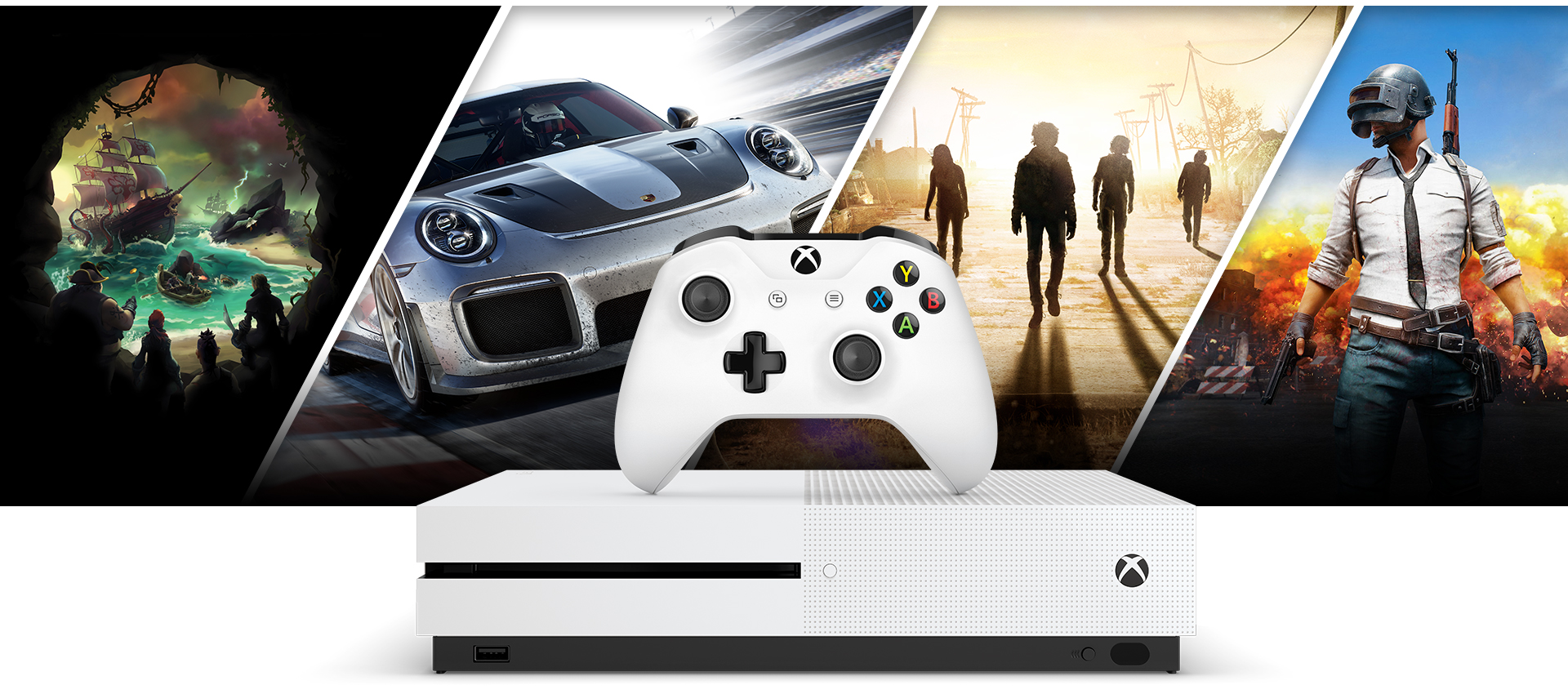Grafik från Sea of Thieves, Forza 7, State of Decay 3 och Player Unknown's Battlegrounds runt Xbox One S och en vit Xbox-handkontroll