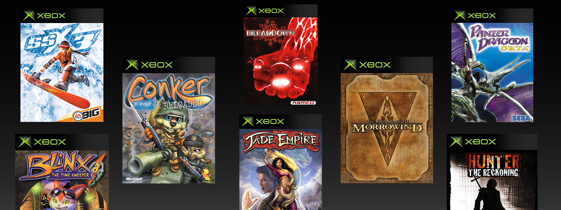 Original Xbox boxshots of SSX3 Blinx Conker Live & Reloaded Breakdown Jade Empire Elder Scrolls Morrowind Panter Dragon Hunter: the Reckonging