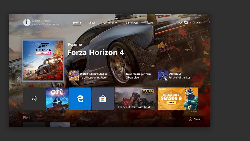 Captura de ecrã do ecrã principal da nova interface Xbox One