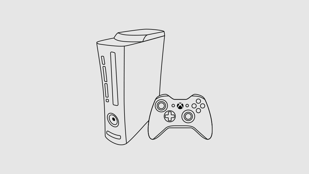 Illustration of an Xbox 360 console
