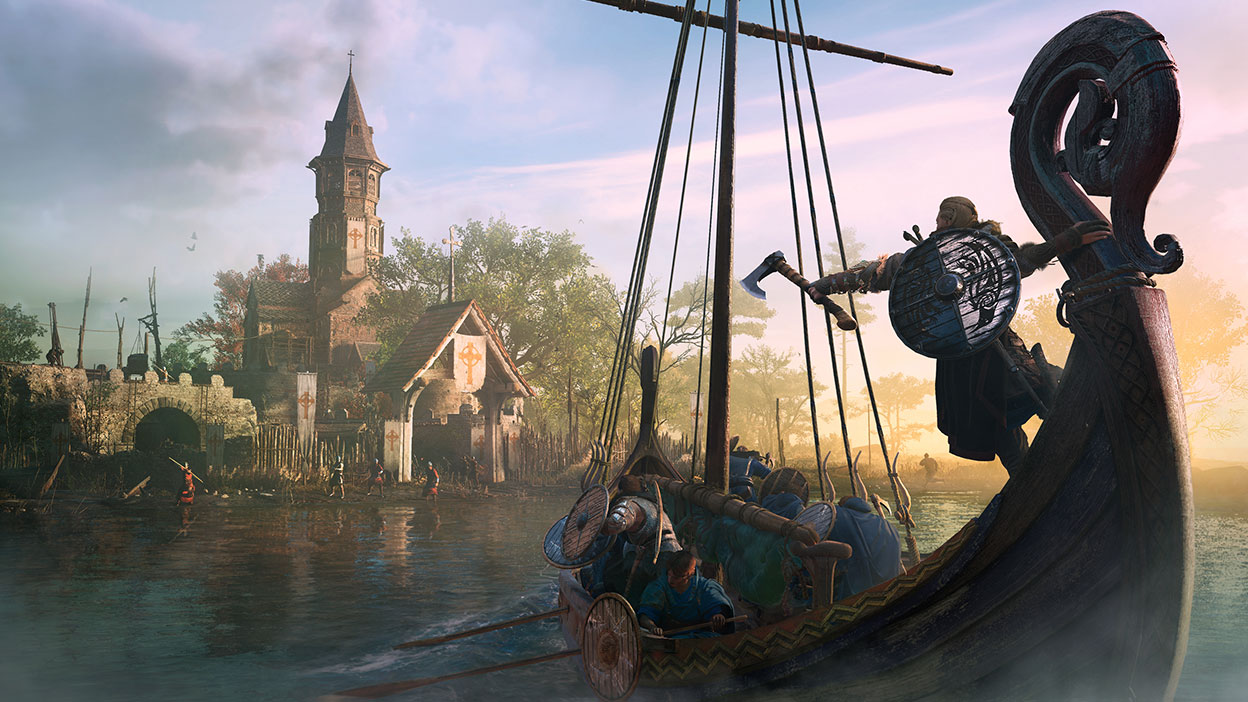 Viking ship going towards shore from Assassin's Creed Valhalla