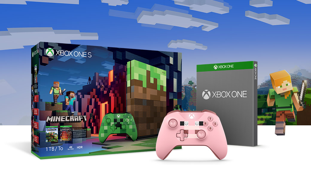 Xbox One S Minecraft Redstone 1 terabyte bundle limited edition with Pig Minecraft controller and blank boxshot