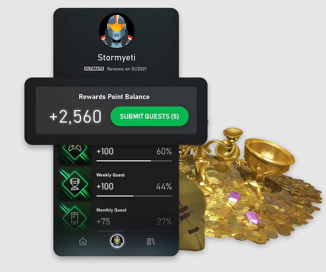 Xbox Game Pass-mobilappens brukergrensesnitt viser en spillers Rewards-poengsaldo.