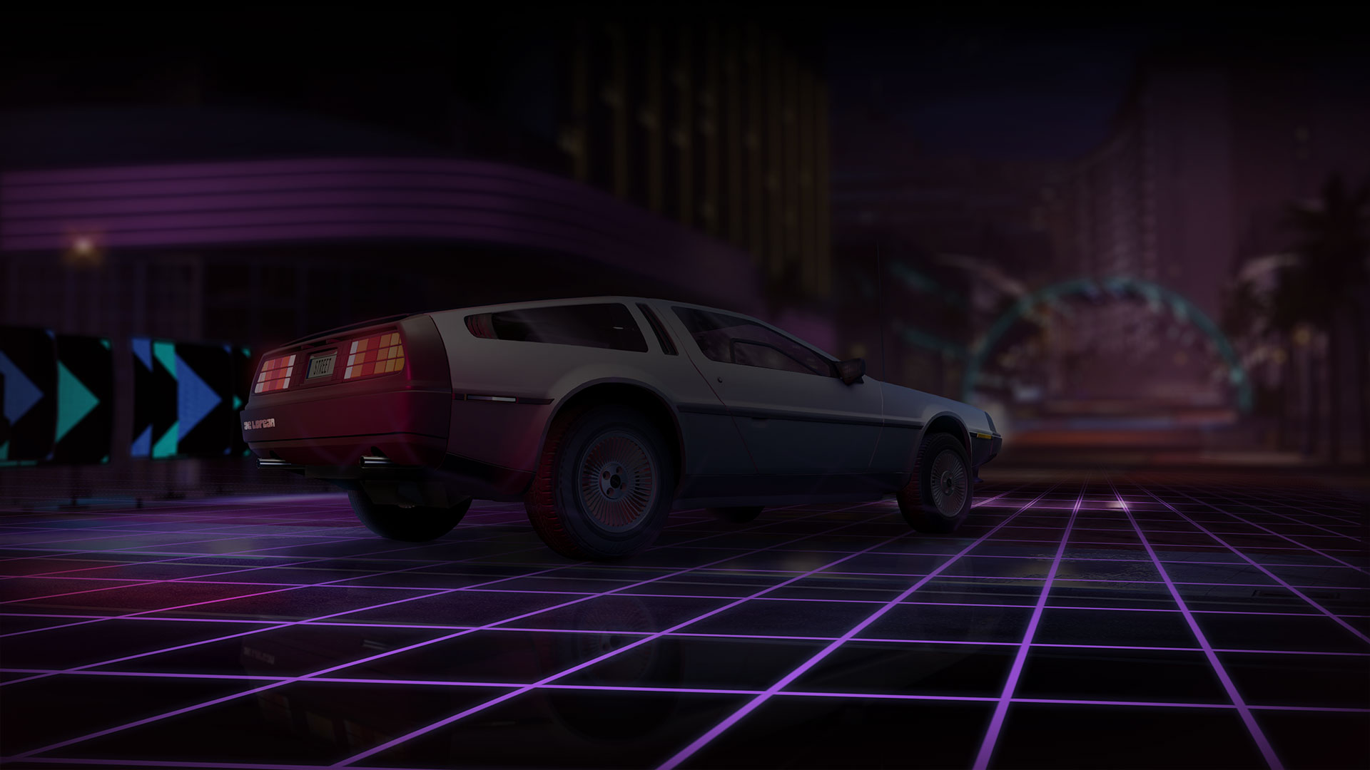 Silver DeLorean on a racetrack in Forza Street