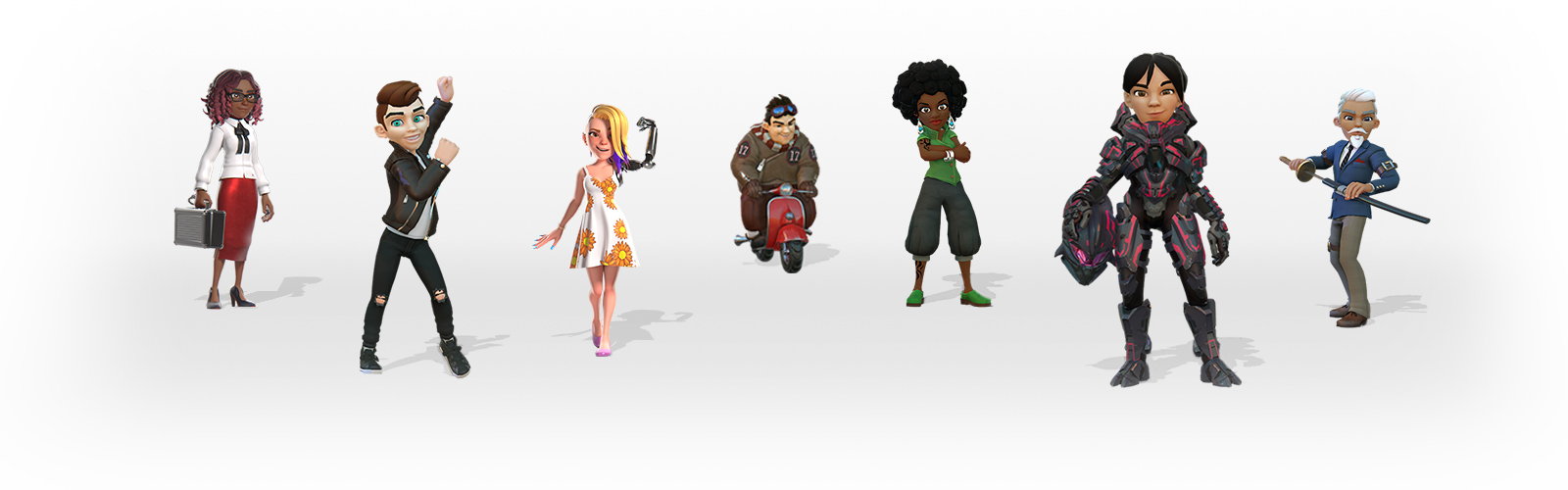 Front view of 7 Avatars wearing different outfits