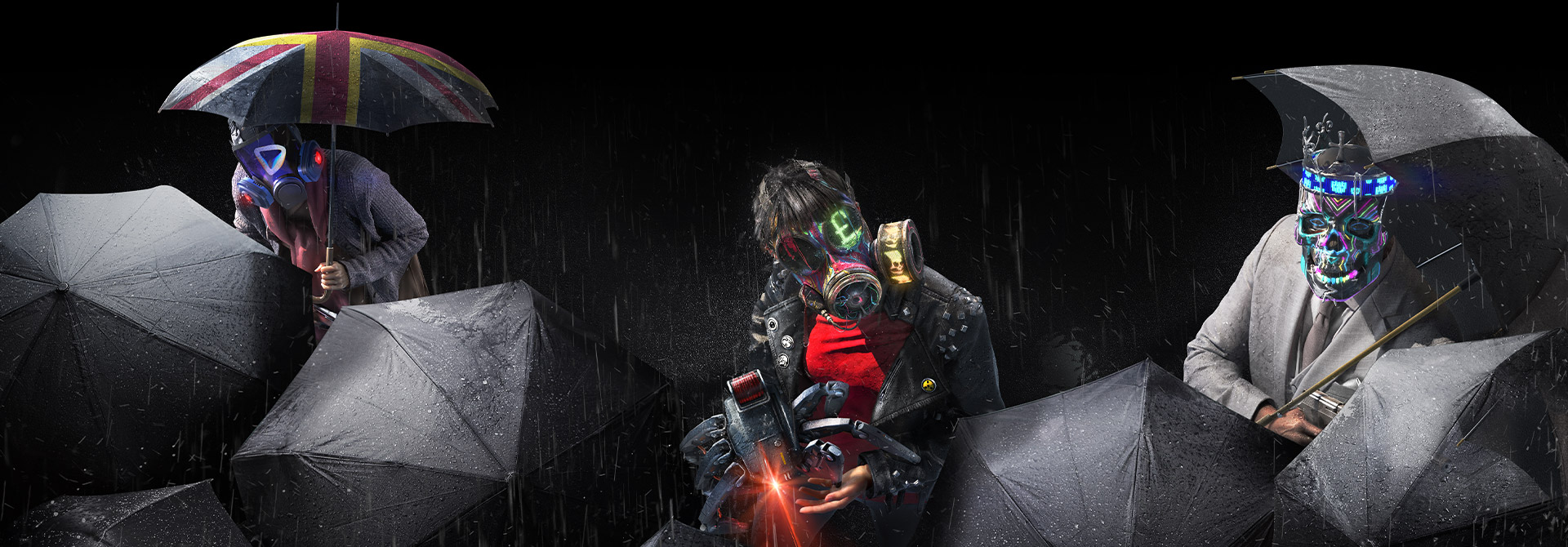 Characters from Watch Dogs: Legion among black umbrellas
