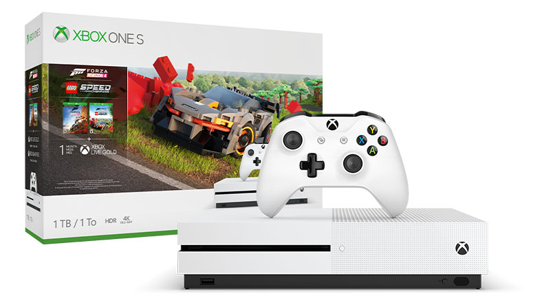 An Xbox One S console and controller are displayed in front of a Forza Horizon 4 LEGO® Speed Champions console bundle box.