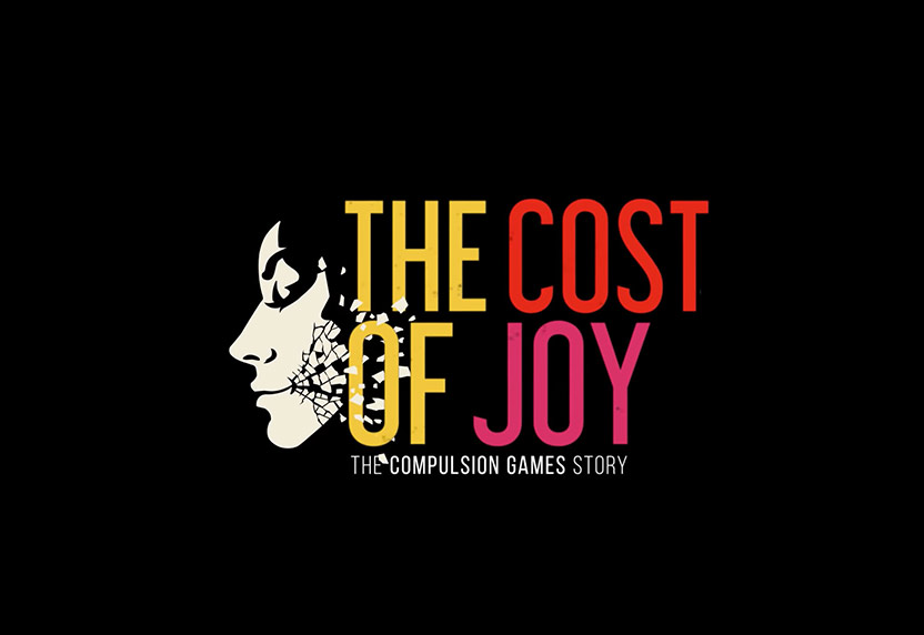 The title card of The Cost of Joy: The Compulsion Games Story, featuring art from We Happy Few.