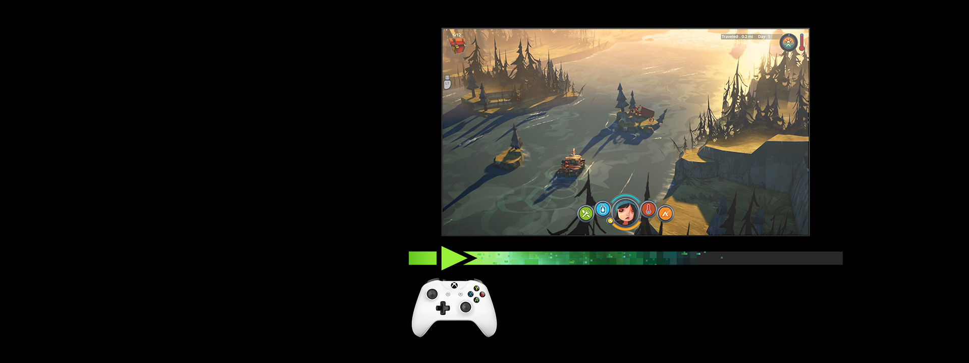 "Screenshot of the game ""The Flame in the Flood"" inside a TV screen with a white Xbox controller"