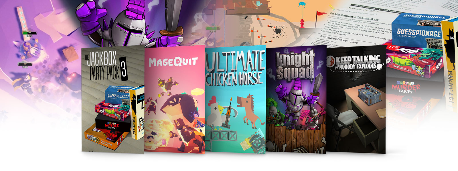 A collage of box art for ID at Xbox party games on sale. Jackbox Party Pack 3, Mage Quit, Ultimate Chicken Horse, Knight Squad, and Keep Talking and Nobody Explodes.