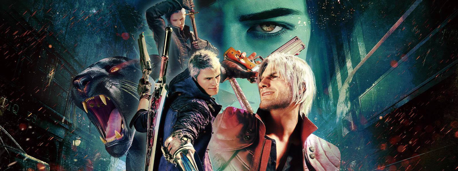 Dante, Nero et Vergil posent avec un V et une panthère noire en arrière-plan