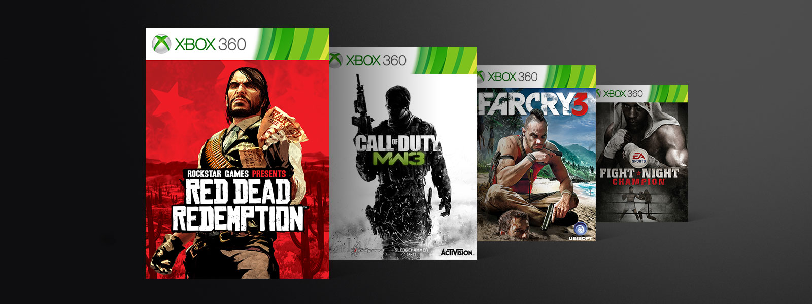 A collage of box art from Xbox Backward Compatible games on sale. Red Dead Redemption, Call of Duty: Modern Warfare 3, Far Cry 3, Fight Night Champion