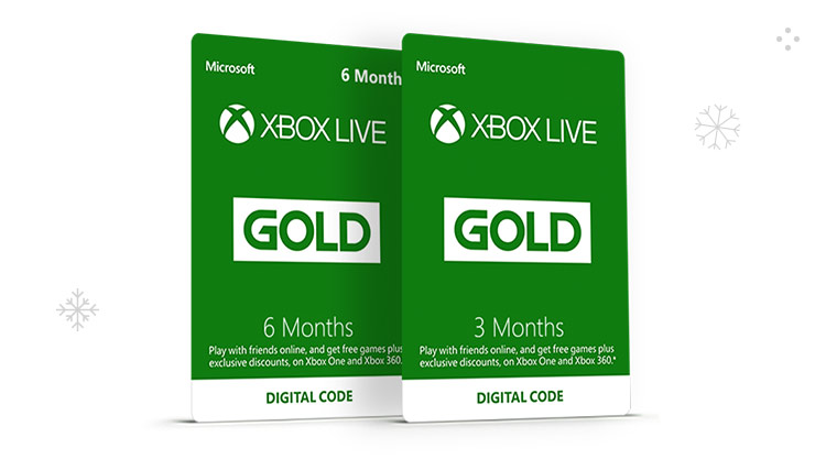 6 month and 3 month Xbox Live Gold Membership cards