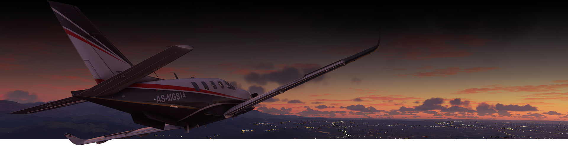 Plane from Microsoft Flight Simulator flying over a city at sunset