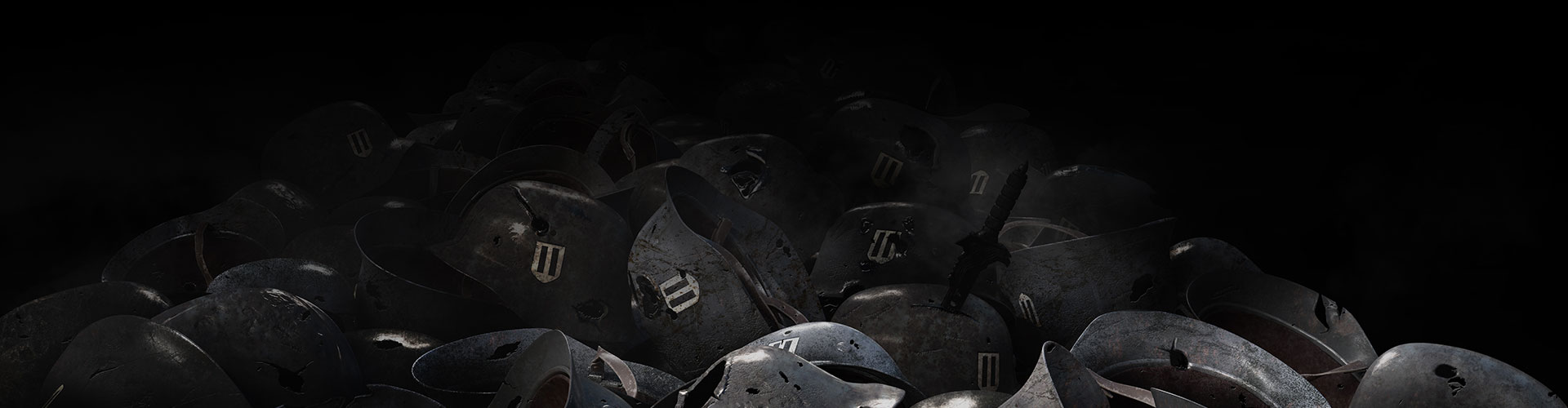 Background of pile of german army helmets