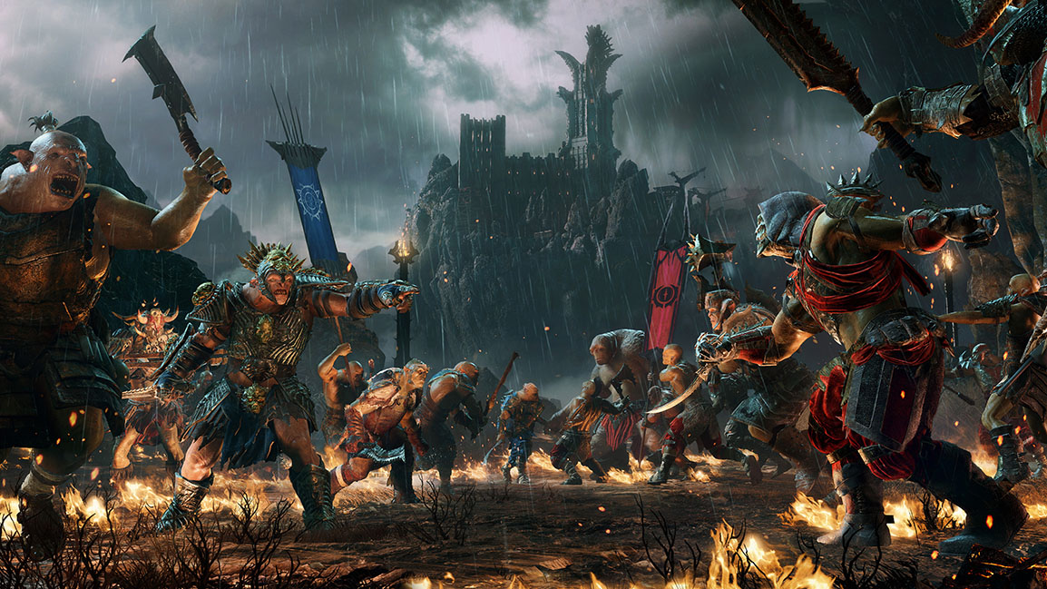Orcs of different loyalties charge each other in battle