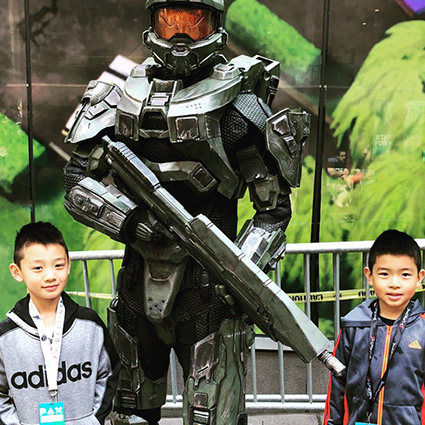 Two children standing next to Master Chief, submitted by 'Matt Chang'