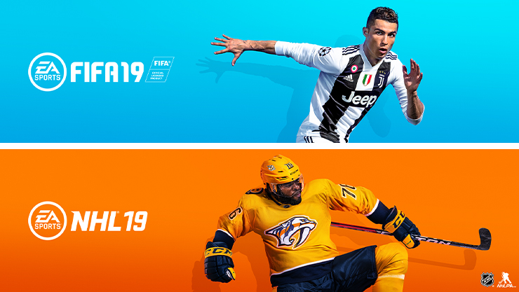 view of game box shot of fifa 19 and nhl 19