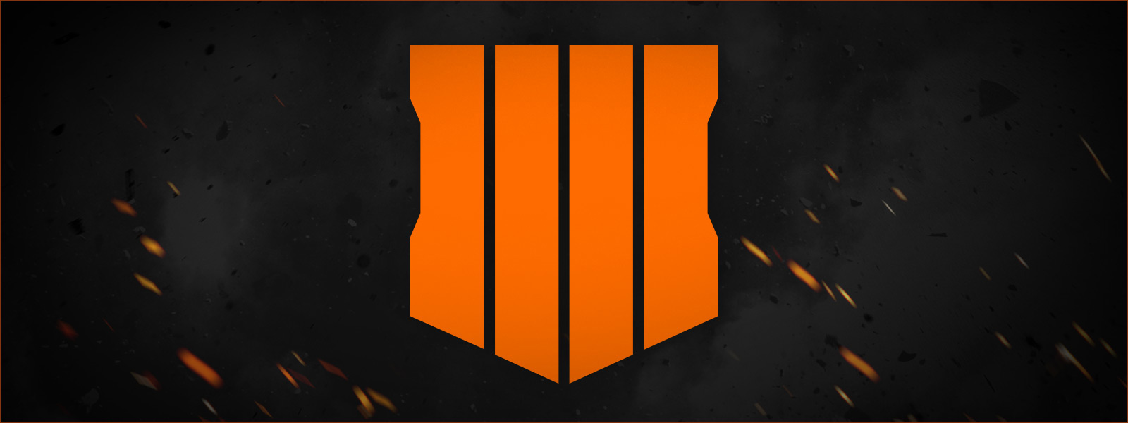 Orange 4 logo on a background of smoke and embers
