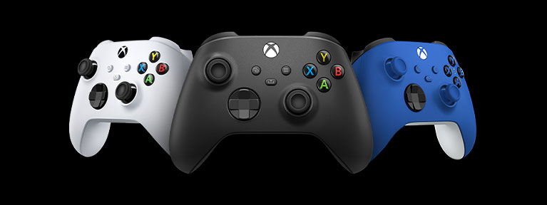 Front angled view of three Xbox Wireless Controllers