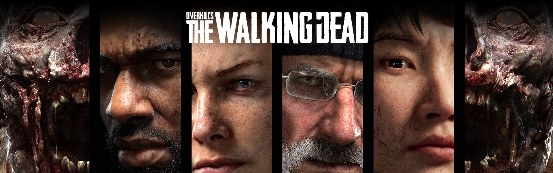 Overkill's the walking dead, close-up view of four human and two zombie faces
