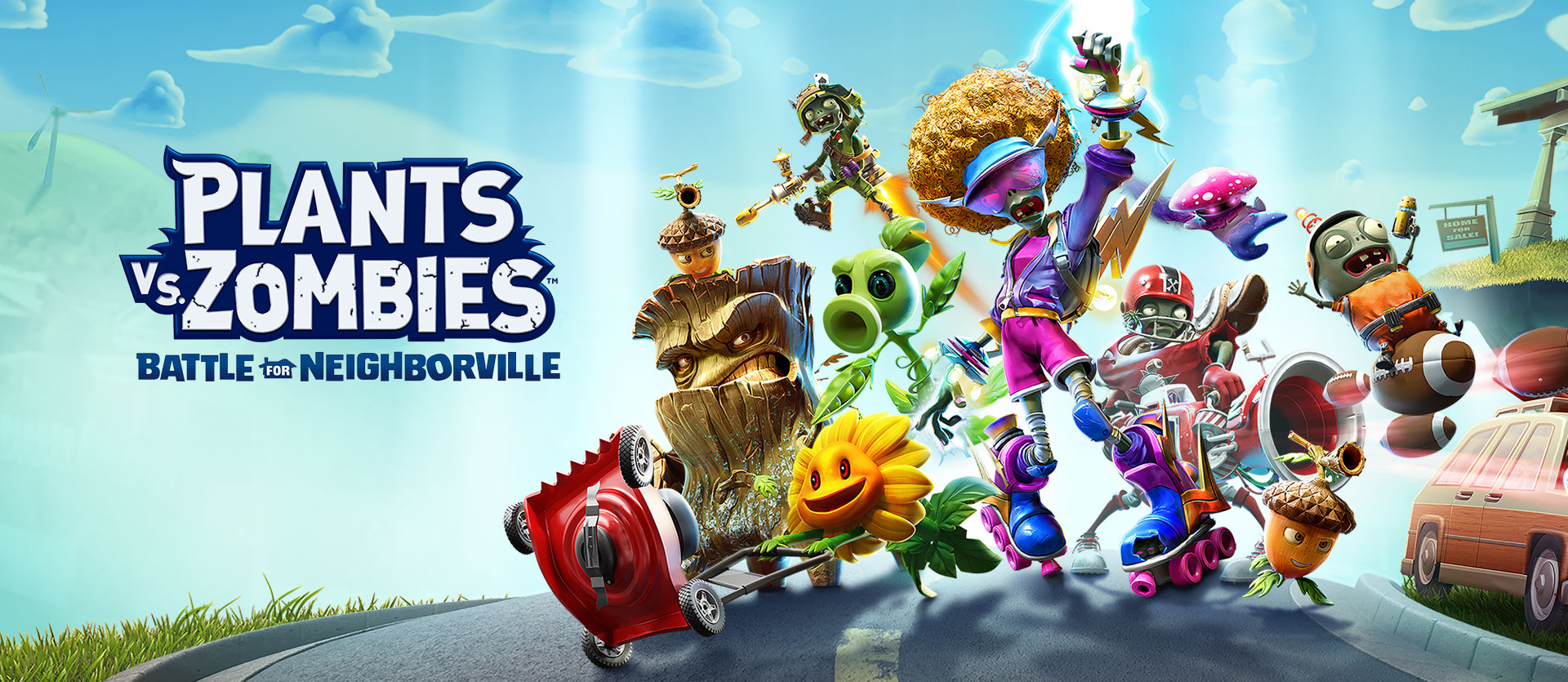 Plants vs. Zombies: Battle for Neighborville, varios personajes posando en una calle