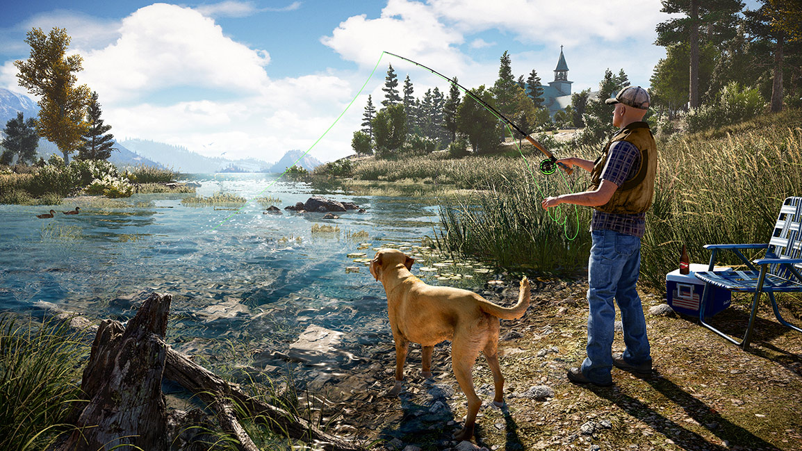 Fishing with a dog
