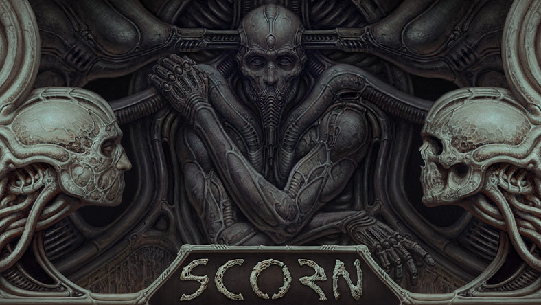 Scorn. A depiction of a disturbing humanoid wrapped in tubing and rods. A skull stares across at a face with no mouth in front of the humanoid.