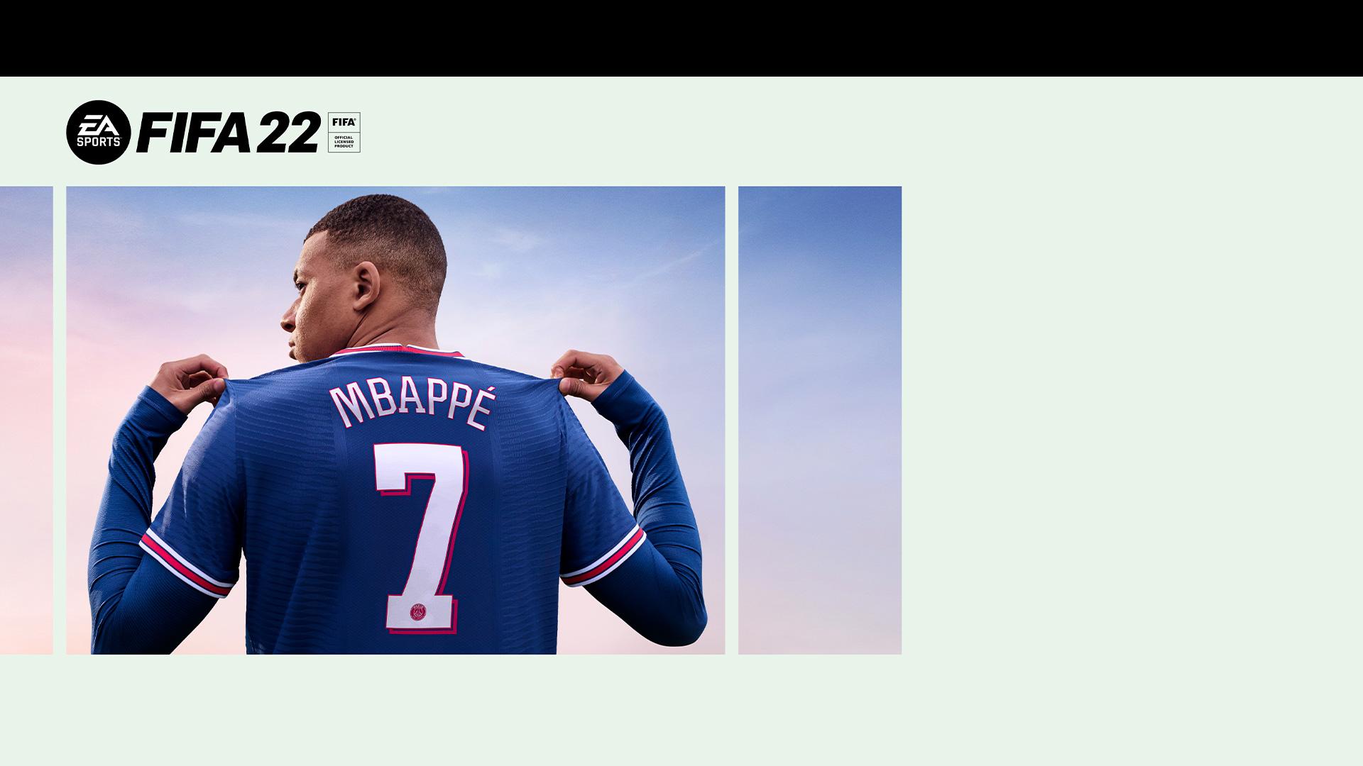 EA Sports, FIFA 22 Resmi Lisanslı Ürün, Mbappe yedi numaralı formasını gösteriyor.