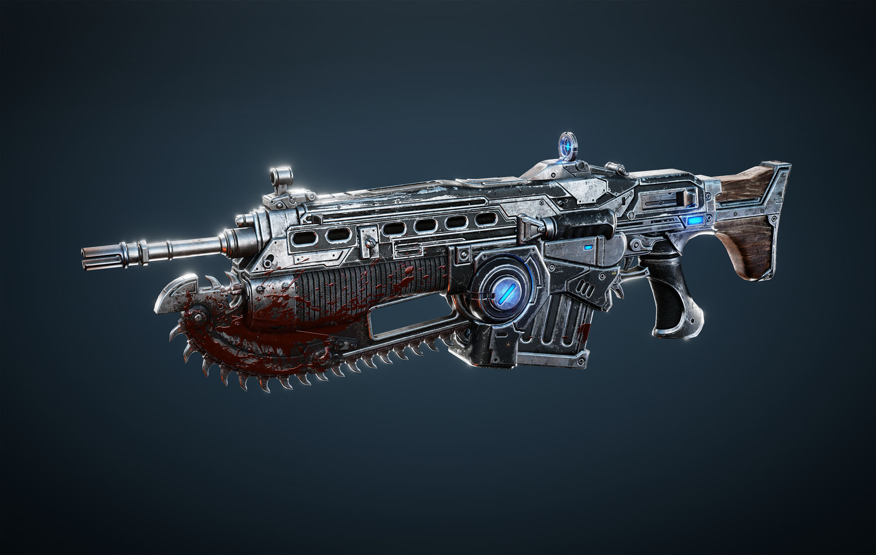 Customized lancer: weapon has gun barrel, magazine and saw