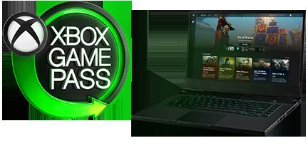 Xbox Game Pass logo next to a laptop