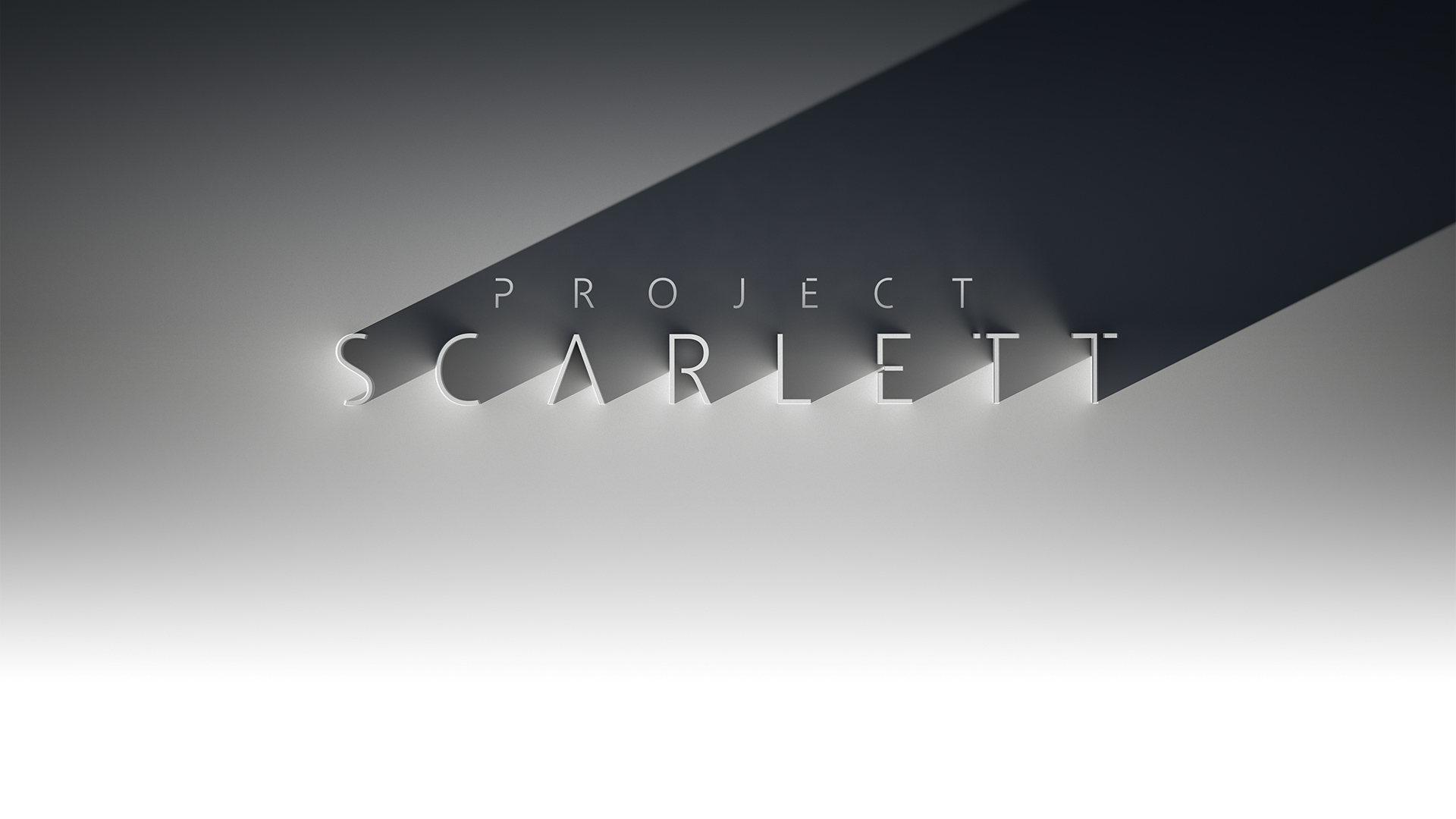 Project Scarlett, stylized three dimensional lettering cast in shadow