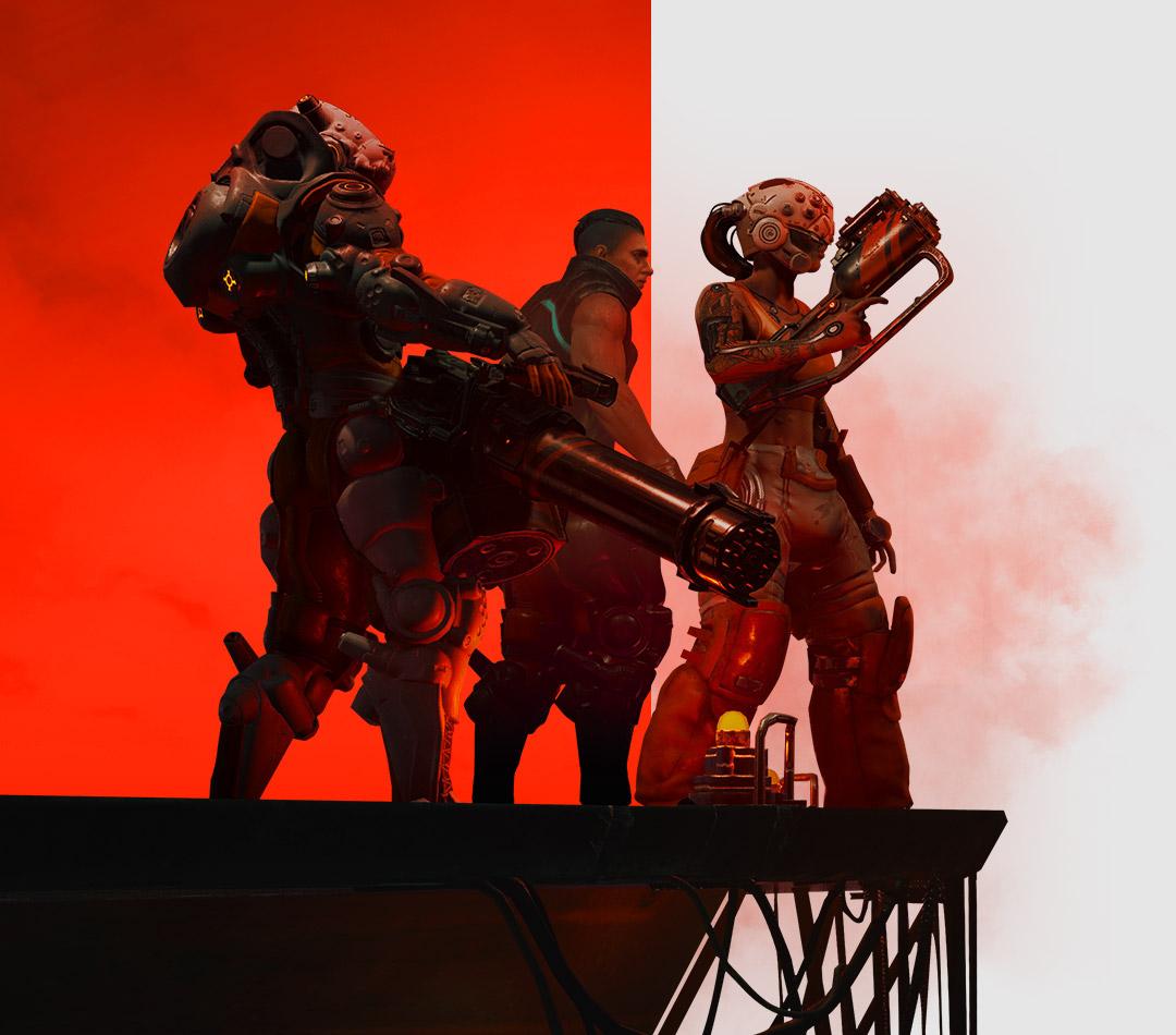 The Ascent, tres personajes con armas parados en una plataforma