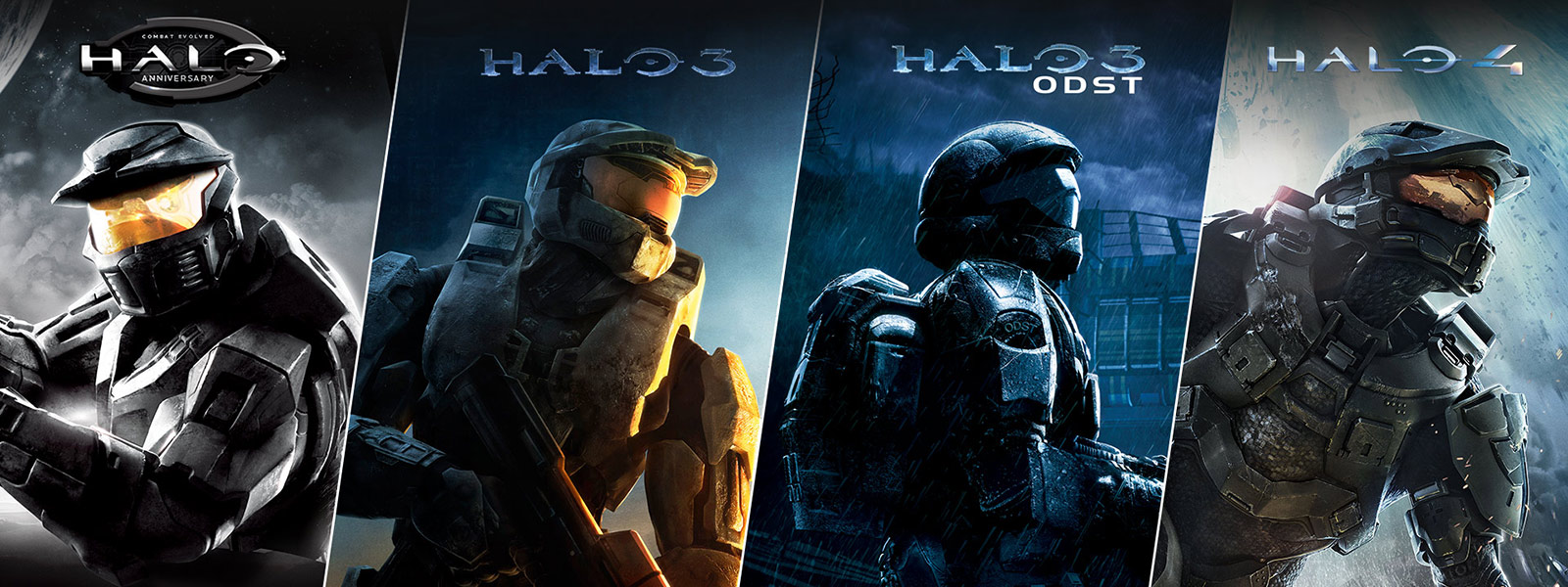 Collage of Halo anniversary, Halo 3, Halo 3 ODST, Halo 4
