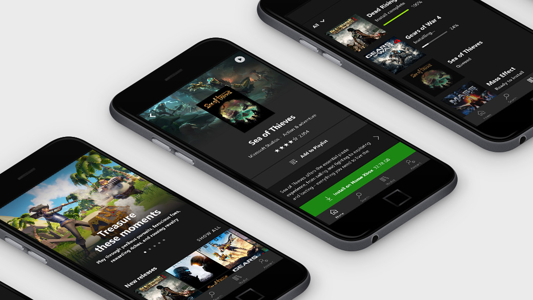 Image of three mobile phones with the Xbox Game Pass App displayed