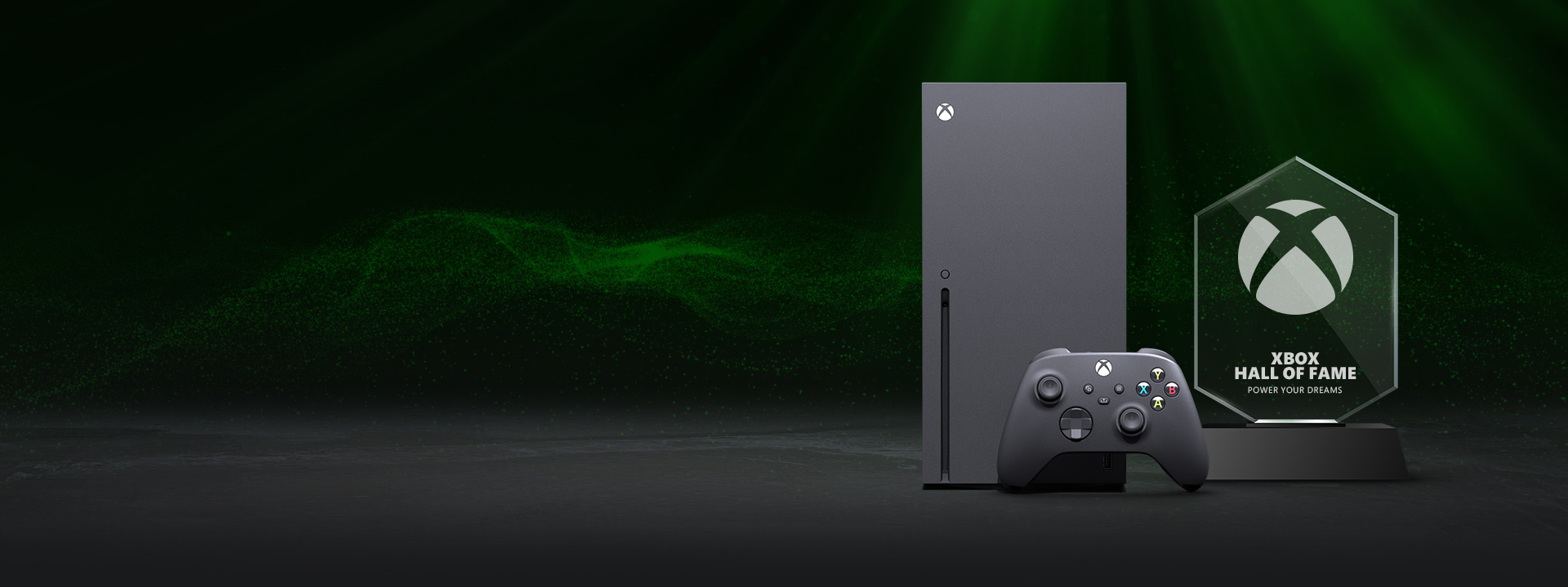 The Xbox Hall of Fame key visual, featuring the Xbox Series X and a custom trophy