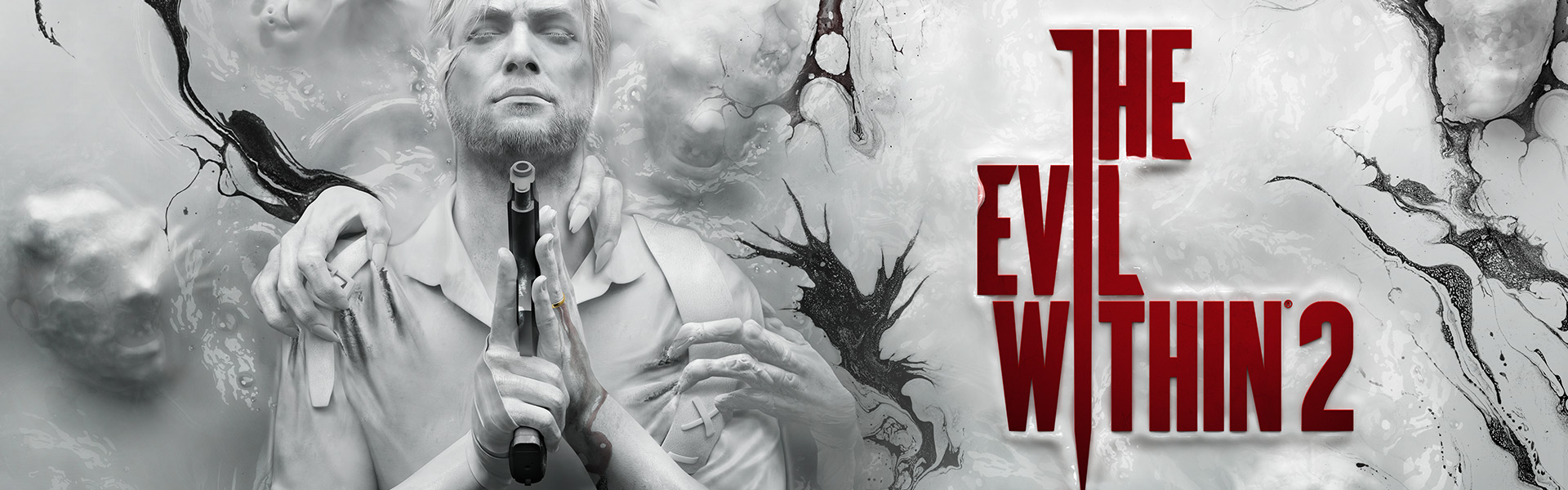 The Evil Within 2, Sebastian con una pistola afferrato da mostri dietro di lui