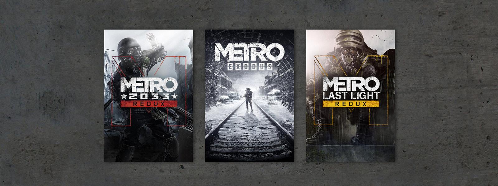 Cajas de Metro Exodus, Metro 2033 y Metro Last Light Redux sobre un fondo gris texturizado